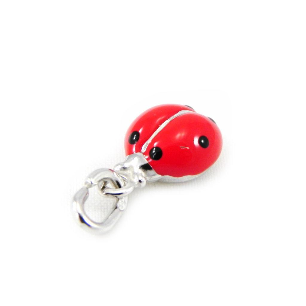 Pendentif Argent \'Coccinelle\' rouge - [G6509]