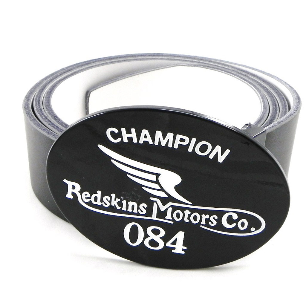 Ceinture Cuir \'Redskins\' noir blanc - 40 mm - [I4970]