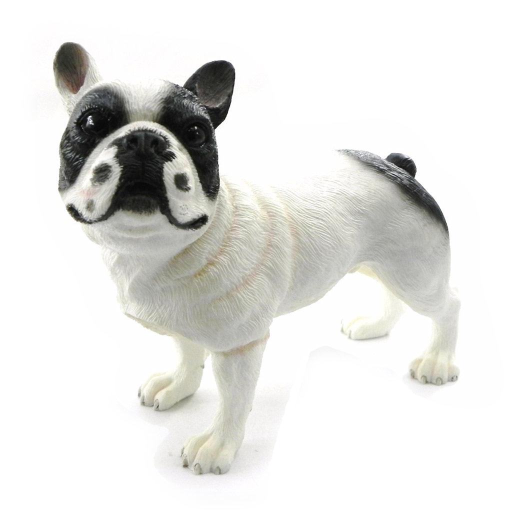 Figurine \'Bouledogue\' blanc noir - [I4984]