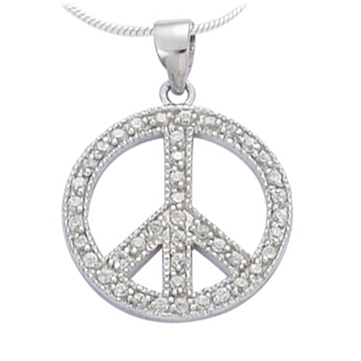 Pendentif Argent \'Peace\' blanc argenté (rhodié) - 2 cm - [J5306]