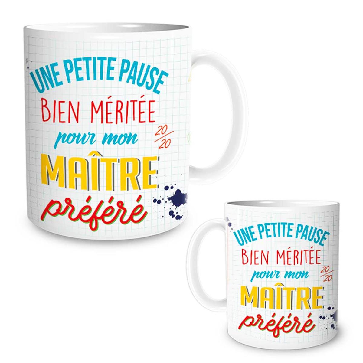 <A MODIFIER> Mug céramique \'Messages\' (Une petite pause bien méritée pour mon maître préféré !) - 95x8 cm - [R1585]
