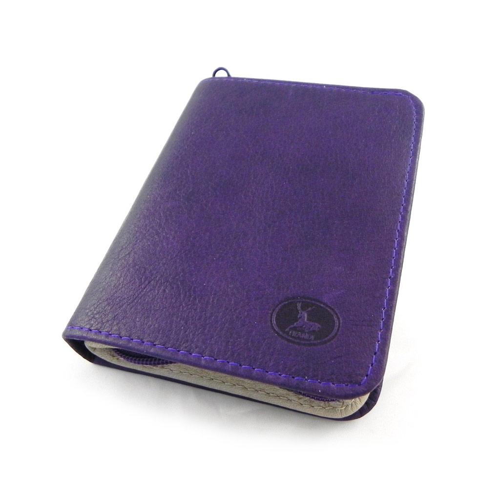 Portefeuille Cuir \'Frandi\' violet gris sauvage - [H6623]