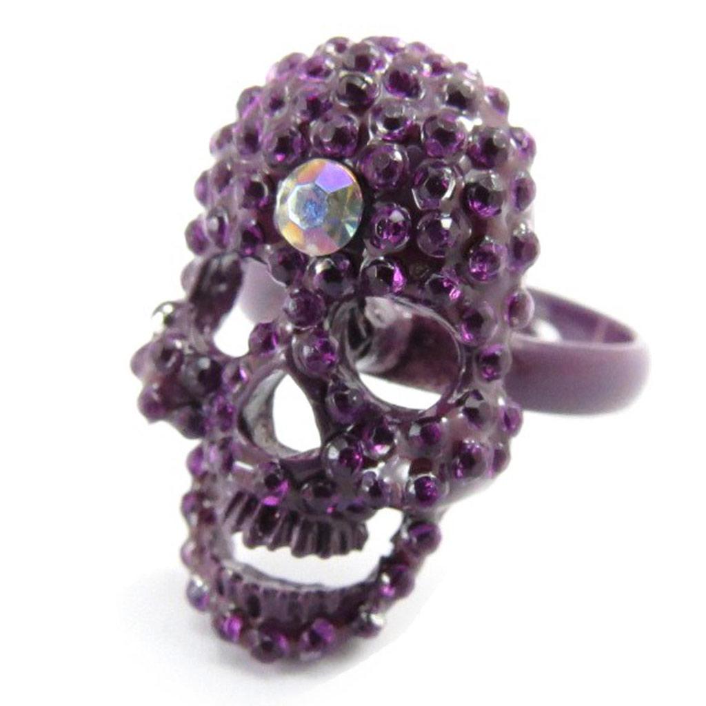 Bague \'Tête de Mort\' violet  - [J5345]