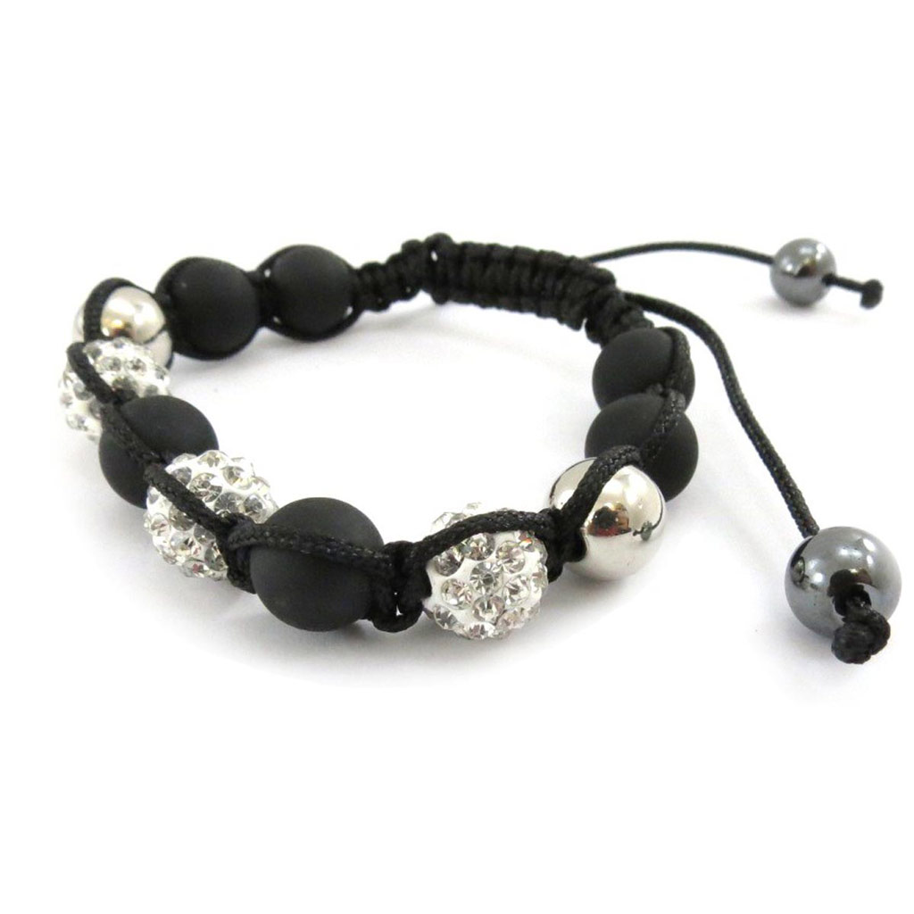 Bracelet ethnique \'Shambhala\' noir blanc - [J5347]