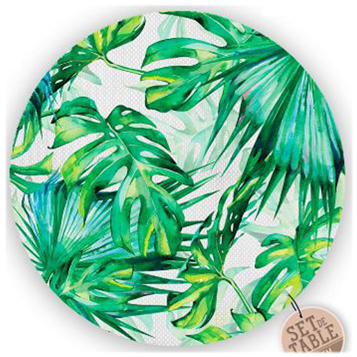 Set de table plastifié \'Tropical\' vert (feuilles) - 38 cm - [R1616]