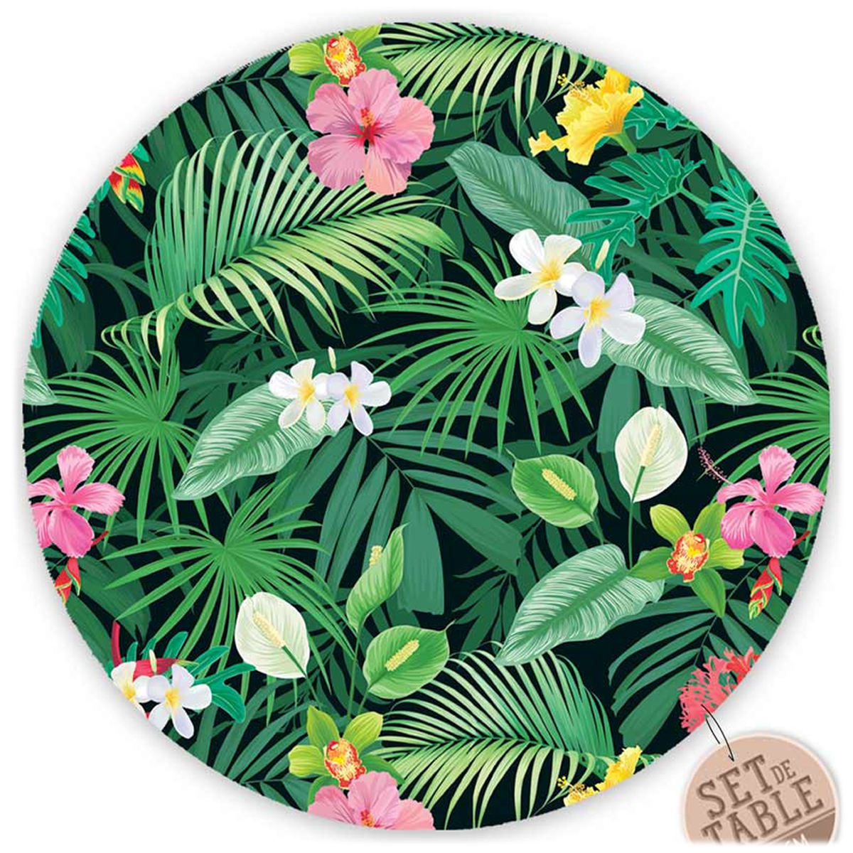 Set de table plastifié \'Tropical\' rose vert (hibiscus feuilles) - 38 cm - [R1618]
