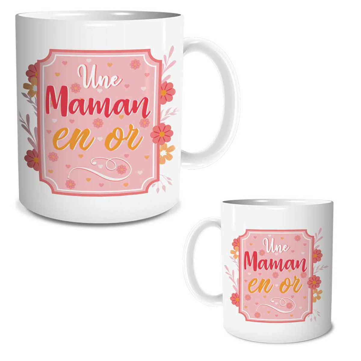 Mug céramique \'Une Maman en Or\' rose - 95x80 mm - [R1624]