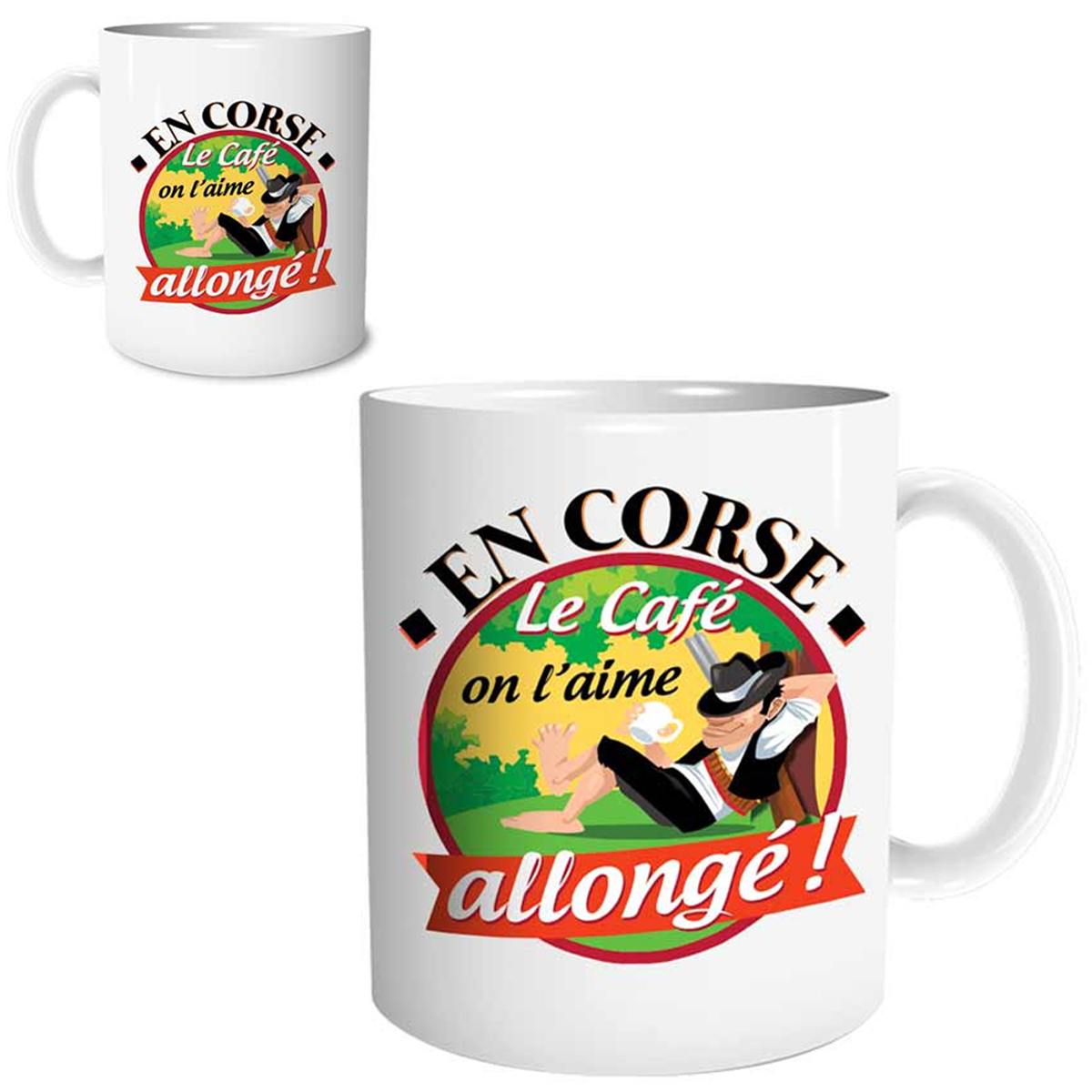 Mug céramique \'Corse\' (En Corse, le café on l\'aime allongé ! ) - 95x80 mm - [R1641]
