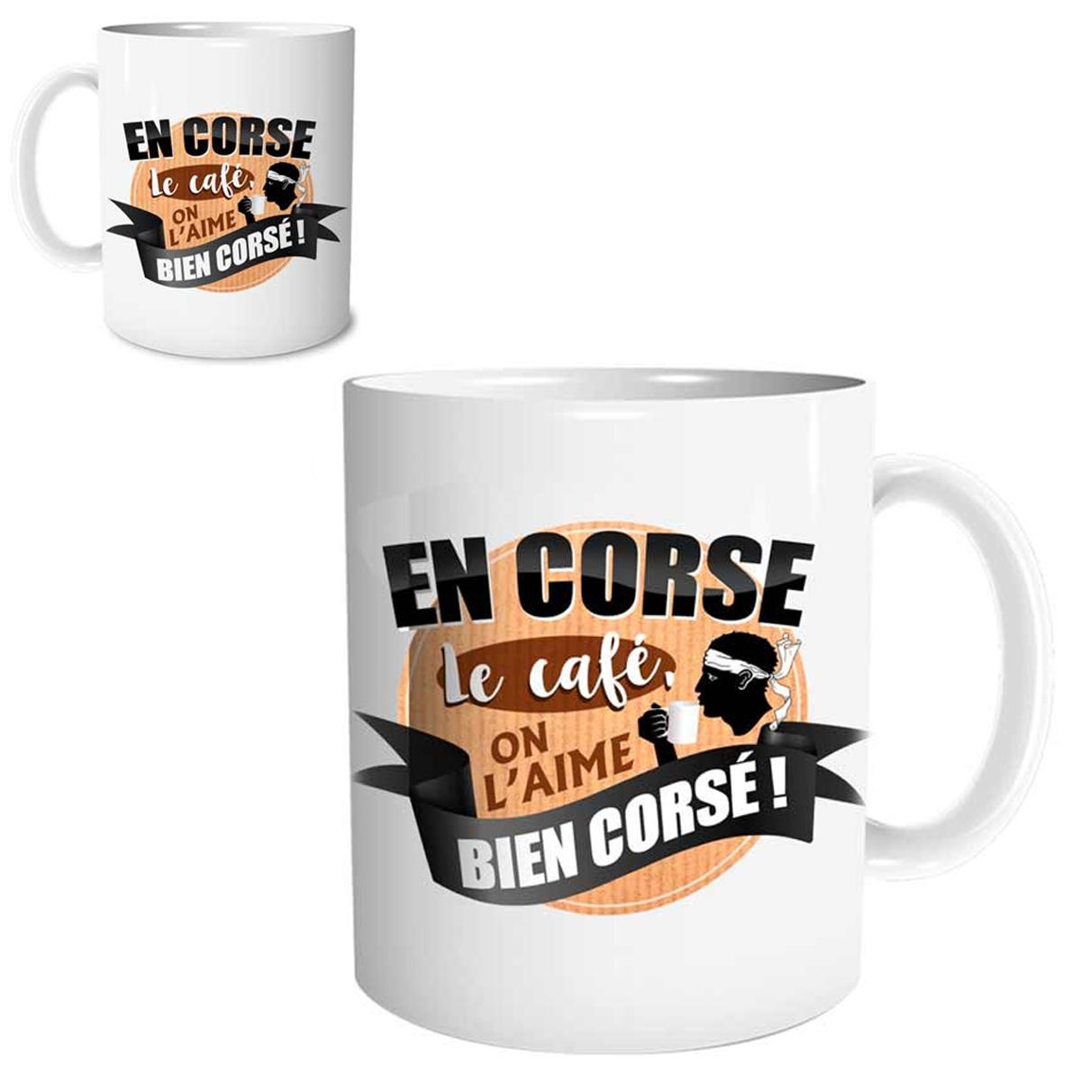 Mug céramique \'Corse\' (En Corse le café on l\'aime bien corsé !) - 95x80 mm - [R1642]