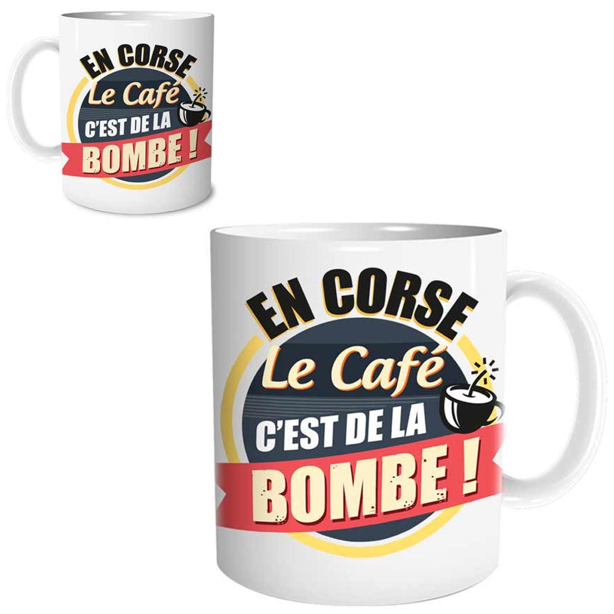 Mug céramique \'Corse\' (En Corse, le café c\'est de la Bombe !) - 95x80 mm - [R1643]