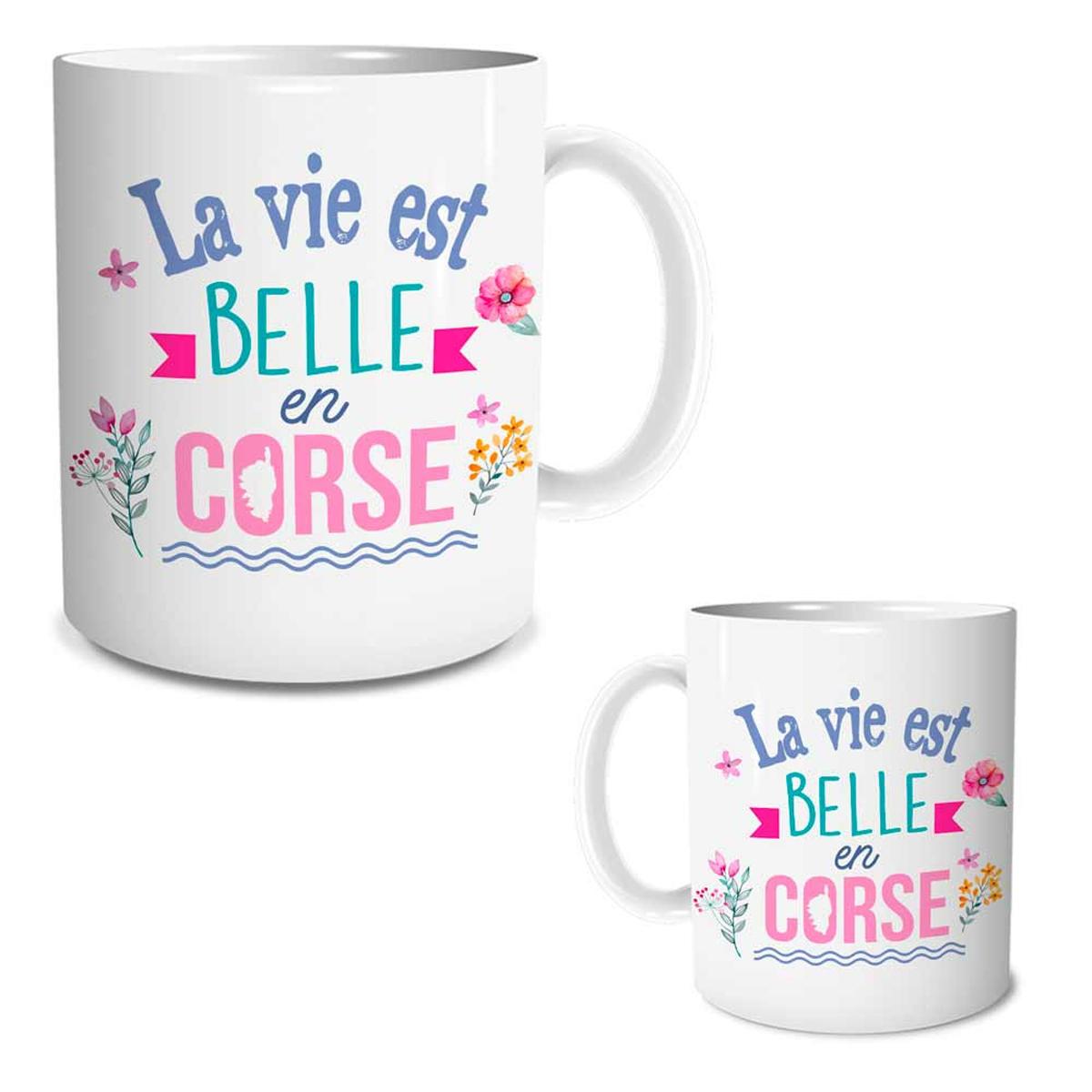 Mug céramique \'Corse\' (La vie est belle en Corse) - 95x80 mm - [R1644]