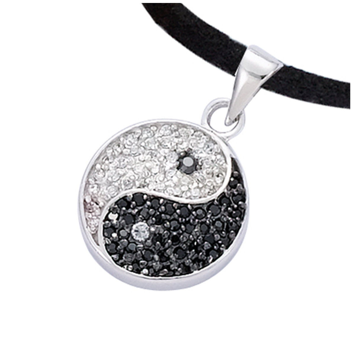 Pendentif Argent \'Yin Yang\' Noir Blanc argenté (rhodié) - 15 mm - [R1666]
