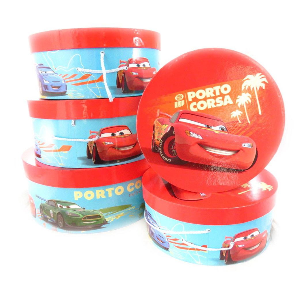 Set de 5 boîtes à Chapeaux \'Cars\' rouge bleu - [J5525]