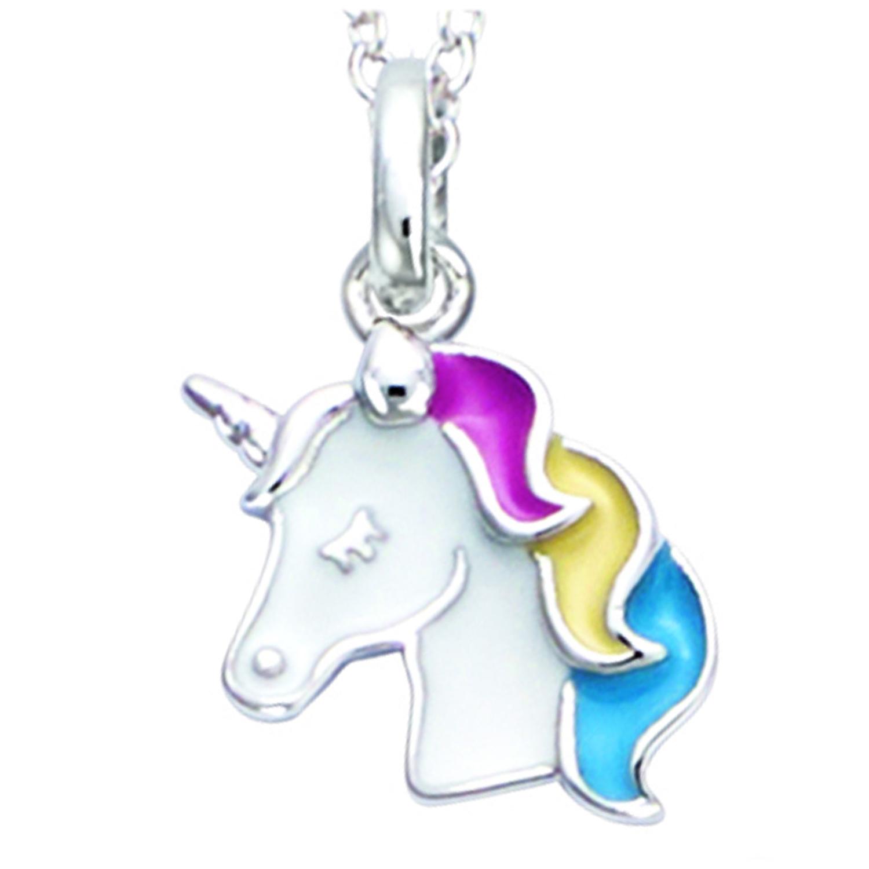 Pendentif Argent \'Licorne My Unicorn\' noir blanc argenté (rhodié) - 12x9 mm - [R1679]