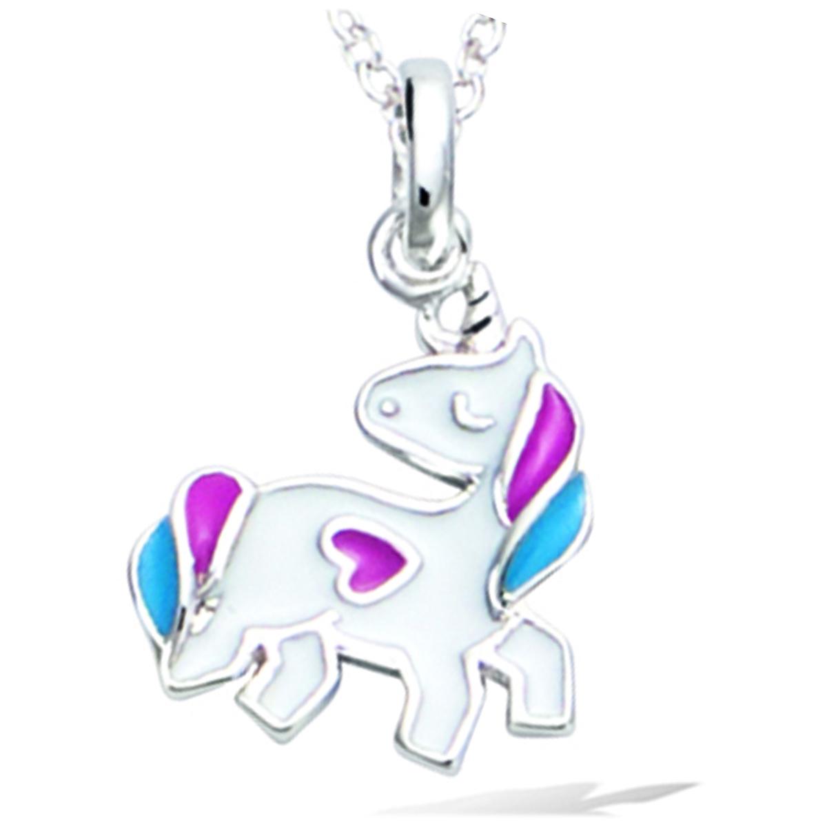 Pendentif Argent \'Licorne My Unicorn\' noir blanc argenté (rhodié) - 11x10 mm - [R1680]