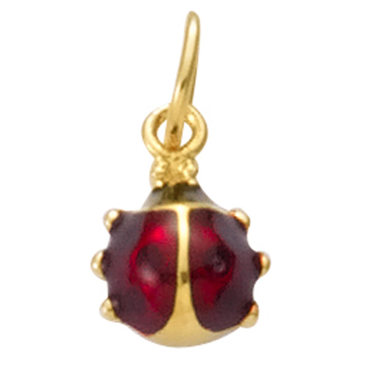 Pendentif plaqué or \'Coccinelle\' rouge doré - 7x6 mm - [R1691]