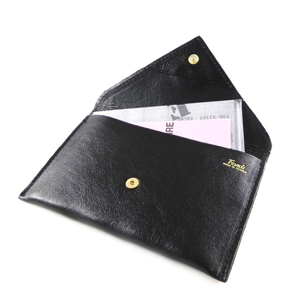 Porte Papiers de voiture Cuir \'Frandi\' noir dakota (ultra plat) - [H6786]
