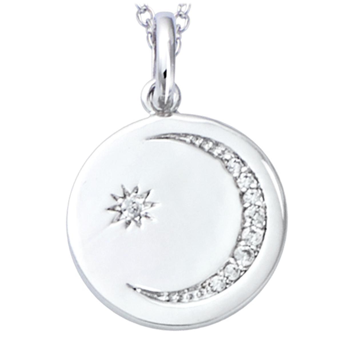 Pendentif Argent \'Au Clair de Lune\' blanc argenté (rhodié) - 15 mm - [R1717]