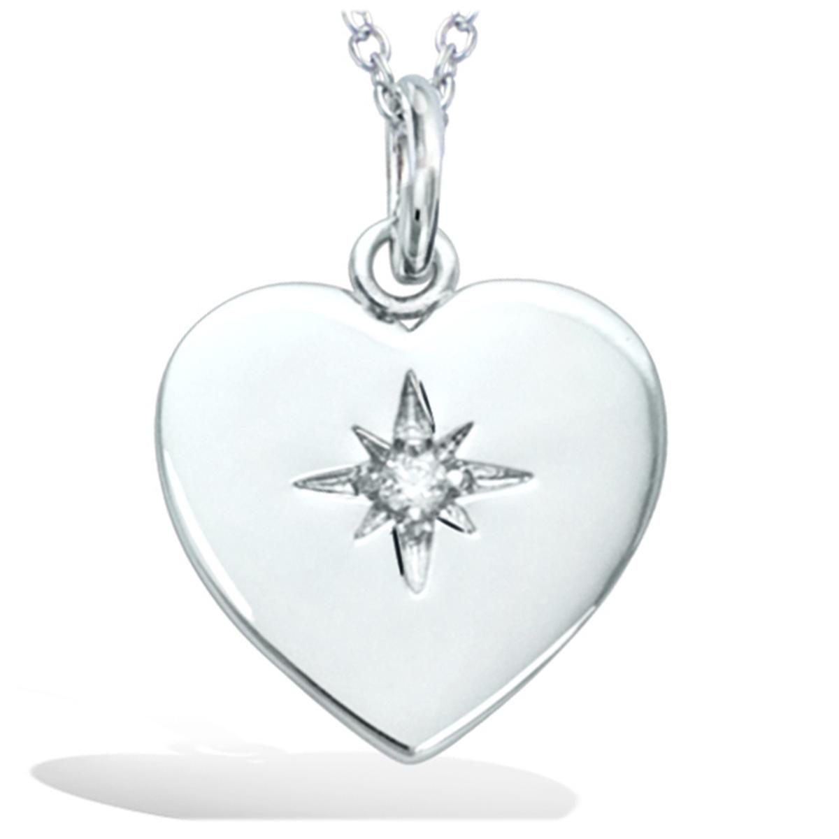 Pendentif Argent \'Love\' blanc argenté (rhodié) - 15x15 mm (étoile) - [R1718]