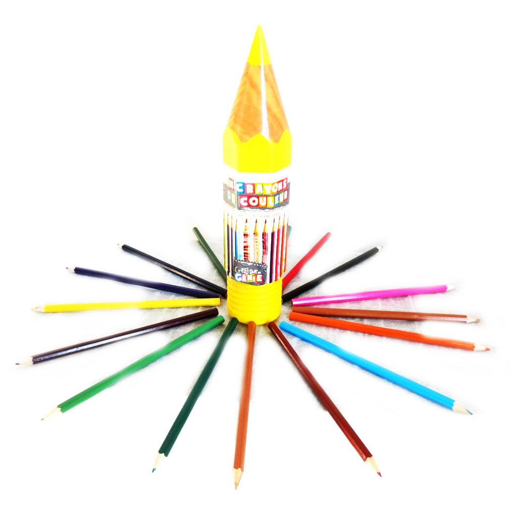 16 crayons de couleur \'Coloriage\' jaune - [M4679]