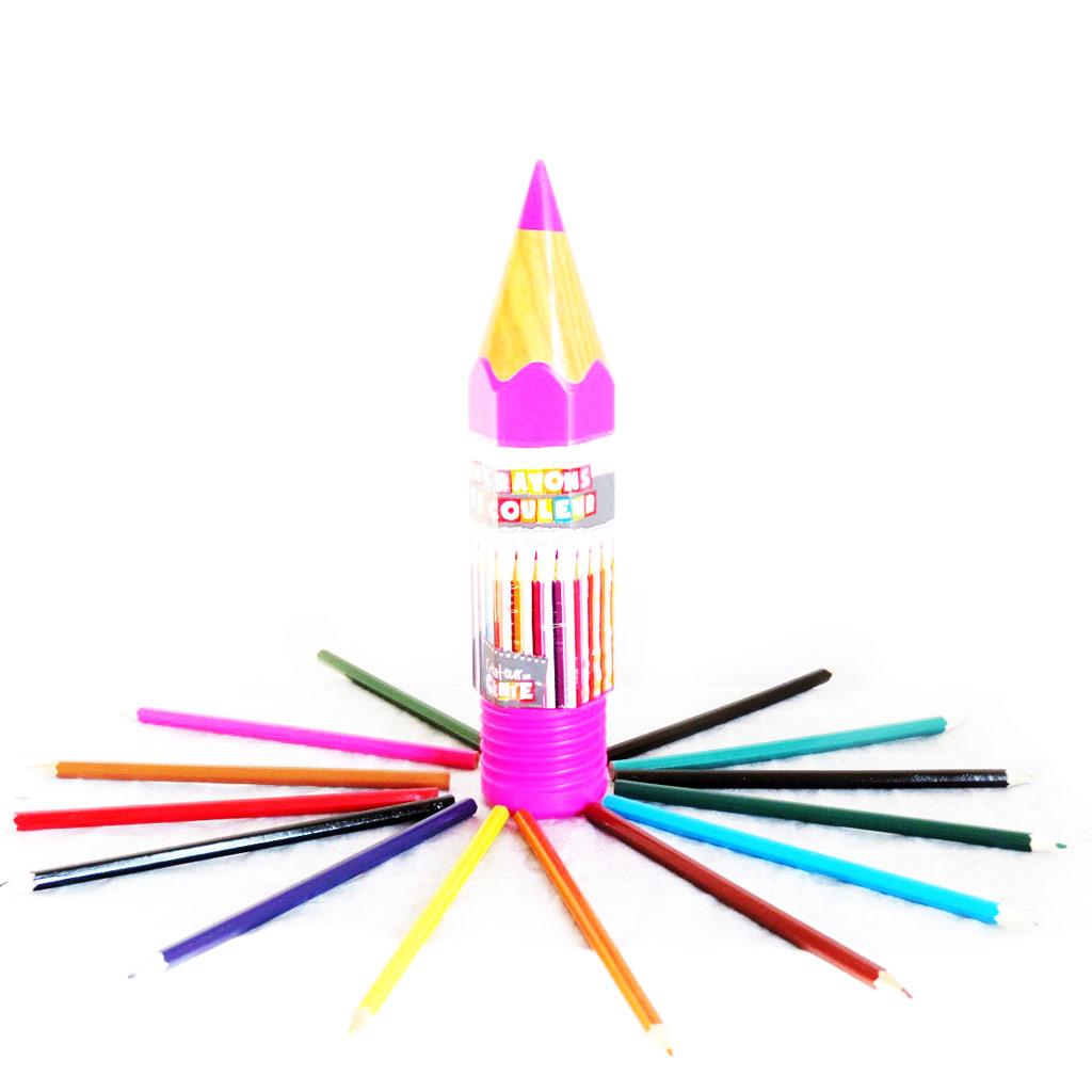 16 crayons de couleur \'Coloriage\' rose - [M4683]