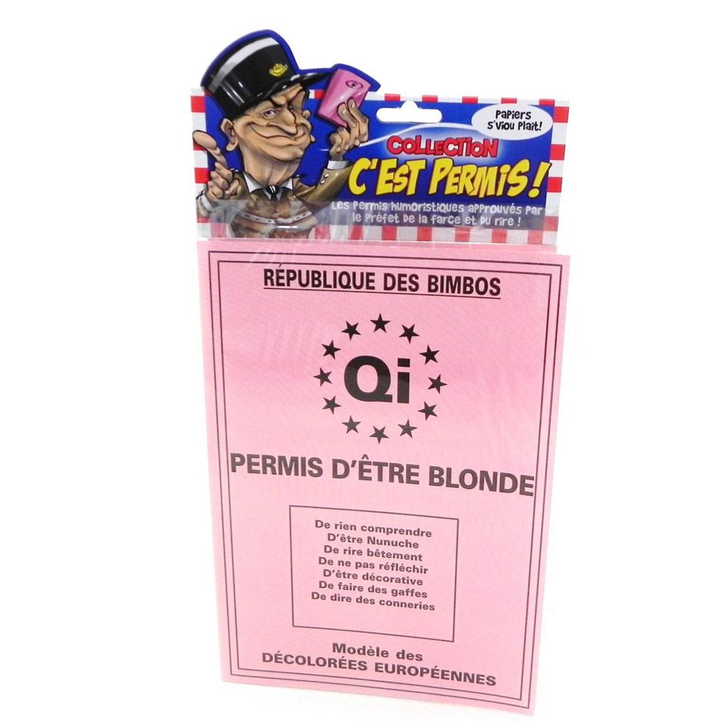 Carte spéciale \'Permis d\'être Blonde\' - 205x145 cm - [H6983]