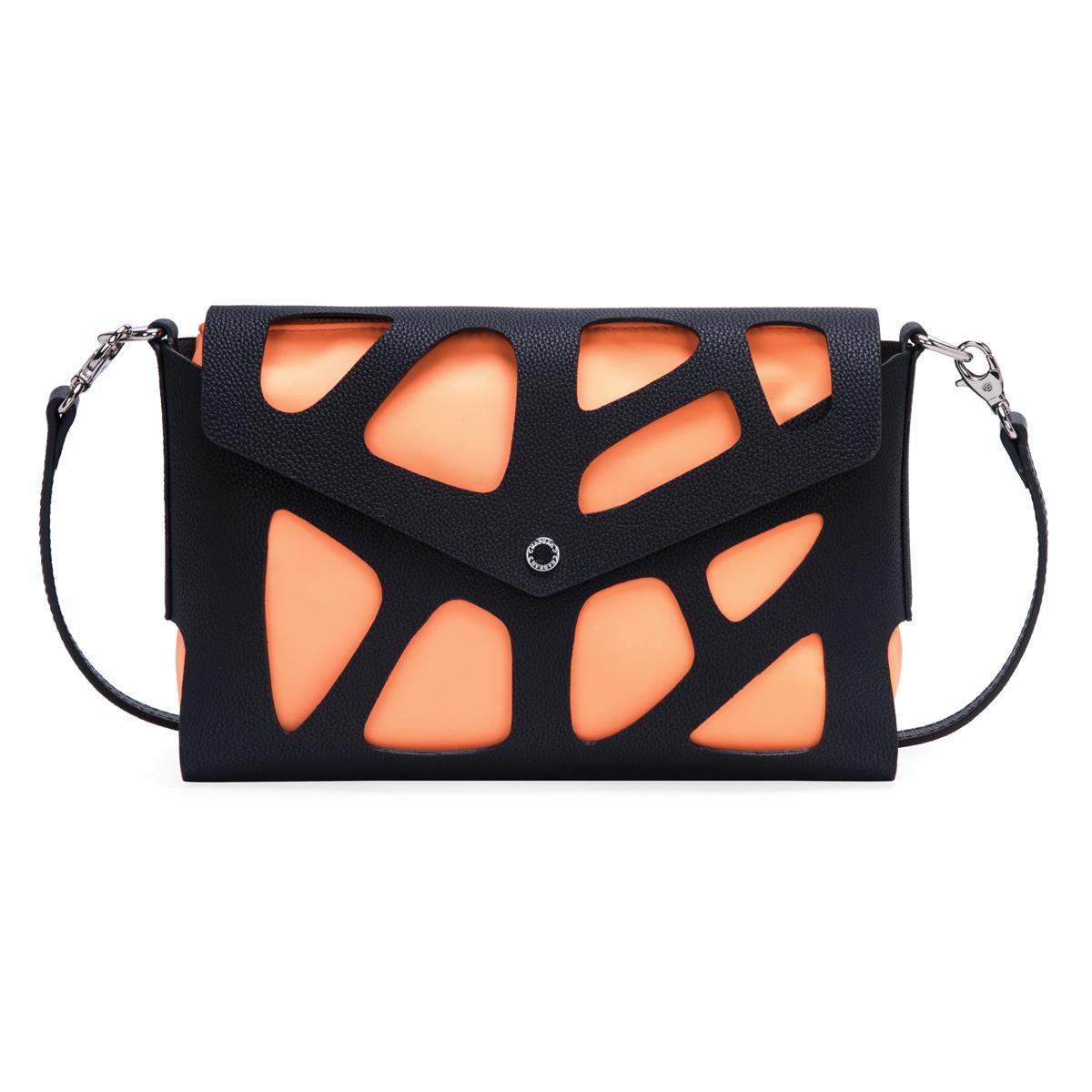 Sac créateur \'Chabrand\' orange noir - 25x18x8 cm - [R1743]