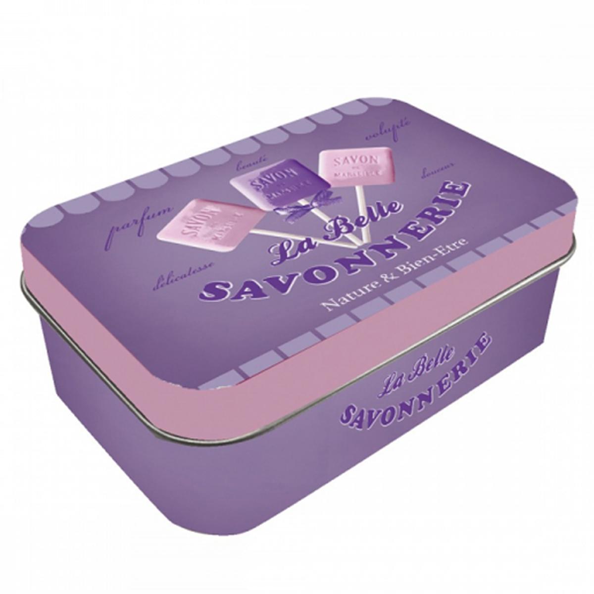 Boite métal \'la Belle Savonnerie\' violet - 10x65x25 cm - [R1748]