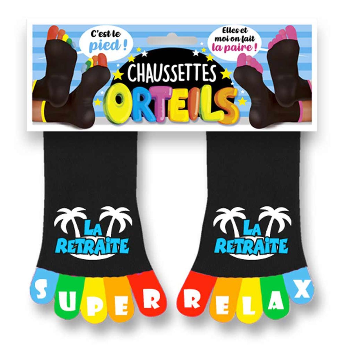 Chaussettes humoristiques \'La Retraite\' noir multicolore - taille unique - [R1754]