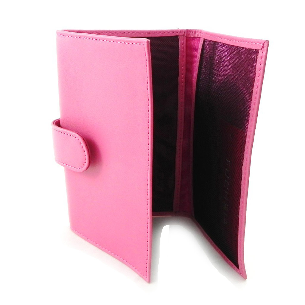 Porte-papiers cuir \'Fuchsia\' rose bonbon - [I6320]