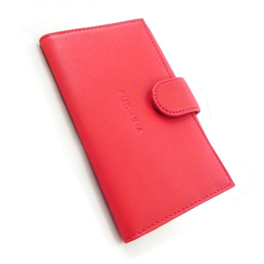 Porte-papiers cuir \'Fuchsia\' rouge - [I6324]