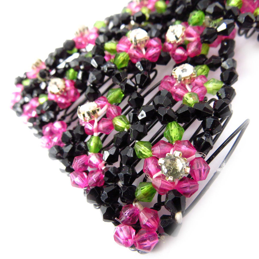 Peigne Résille \'Chrysalide\' noir rose - [J5789]