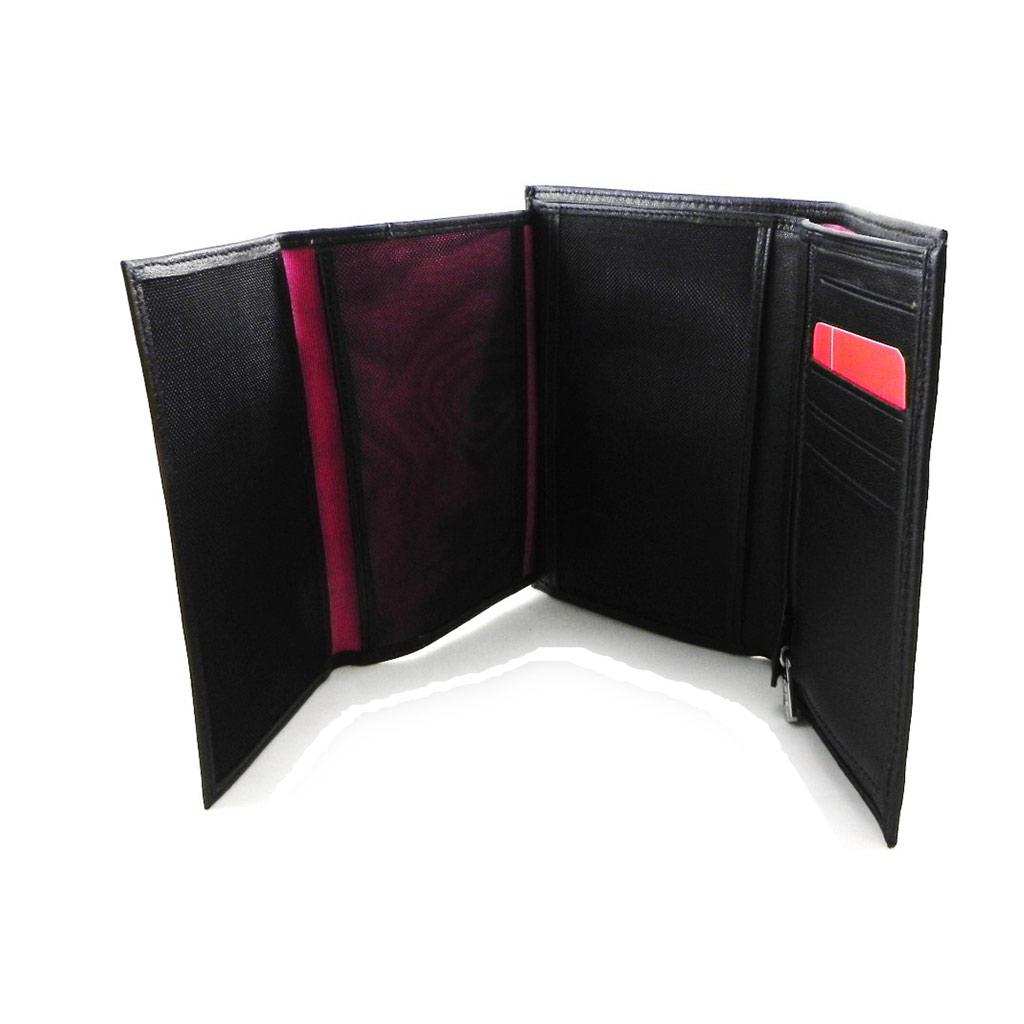Portefeuille cuir \'Fuchsia\' noir (3 volets) - [I6356]