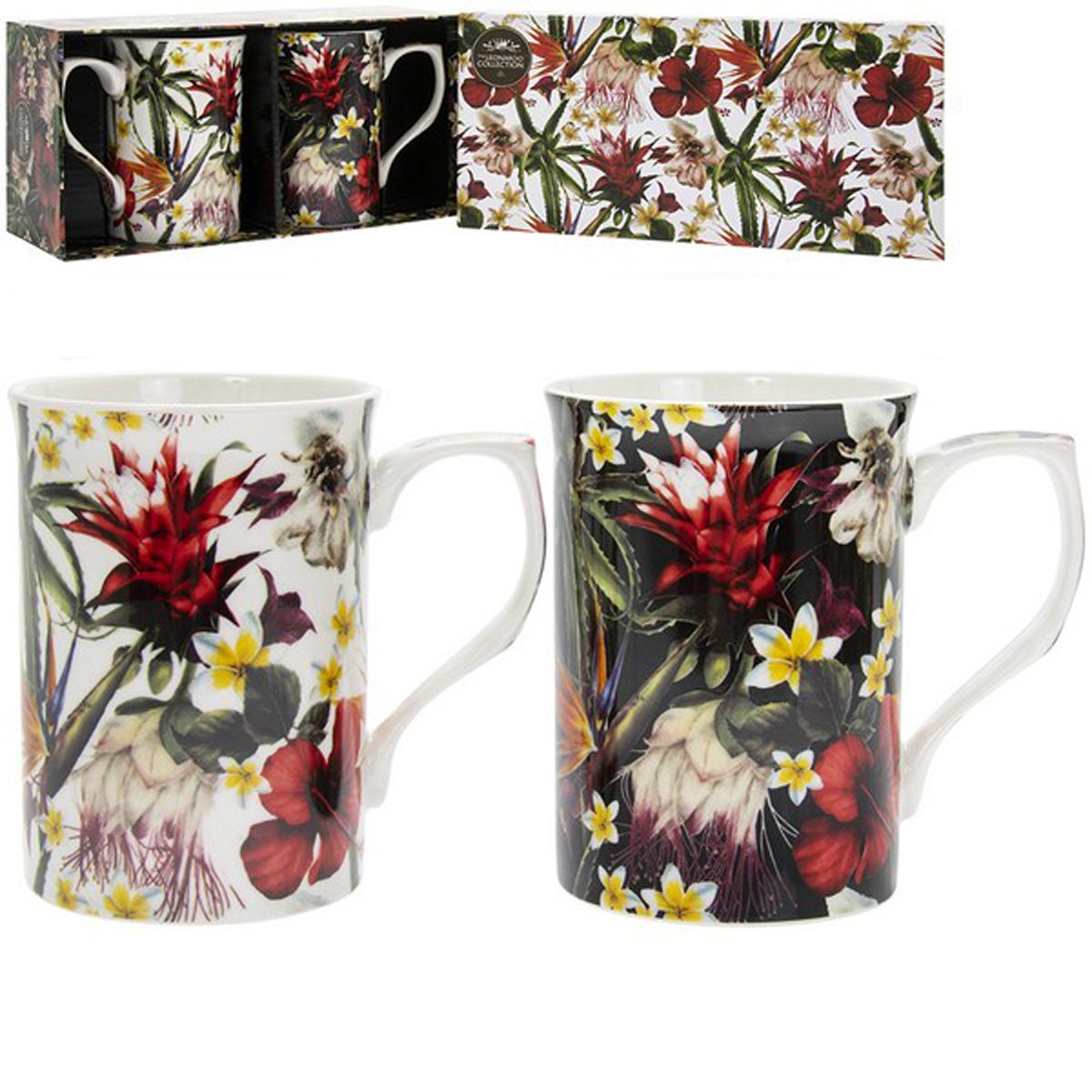 Coffret 2 mugs porcelaine \'Hibiscus\' multicolore - 10x75 cm - [R1774]
