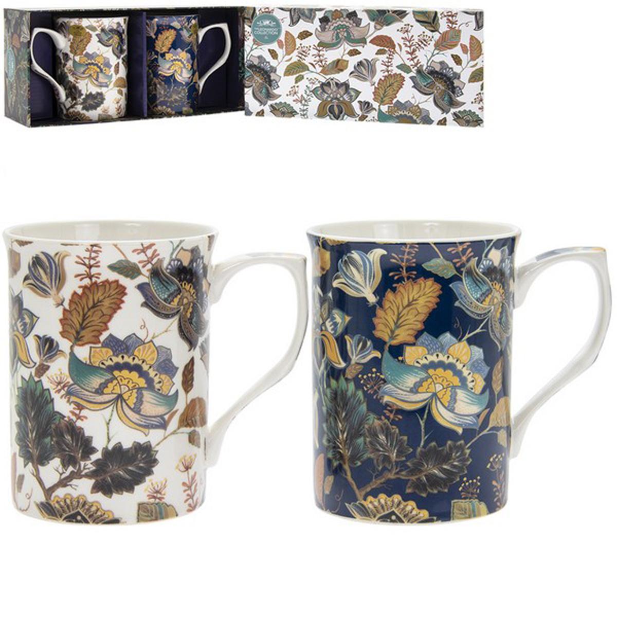 Coffret 2 mugs porcelaine \'Aurora\' bleu blanc - 10x75 cm - [R1776]