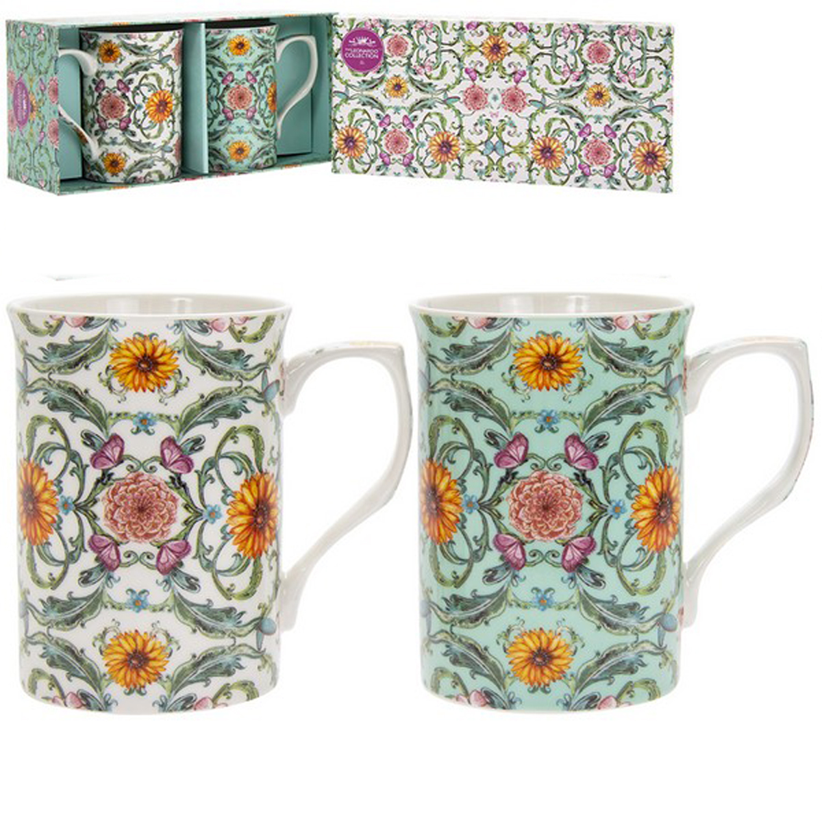 Coffret 2 mugs porcelaine \'Amadeus\' vert orange blanc - 10x75 cm - [R1777]
