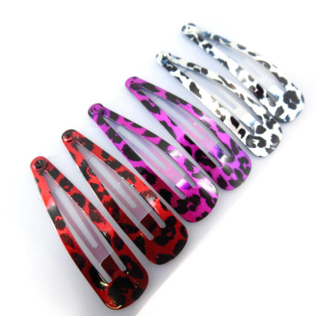 Set 6 barrettes \'Coloriage\' fauve rouge violet blanc (5 cm) - [J5829]