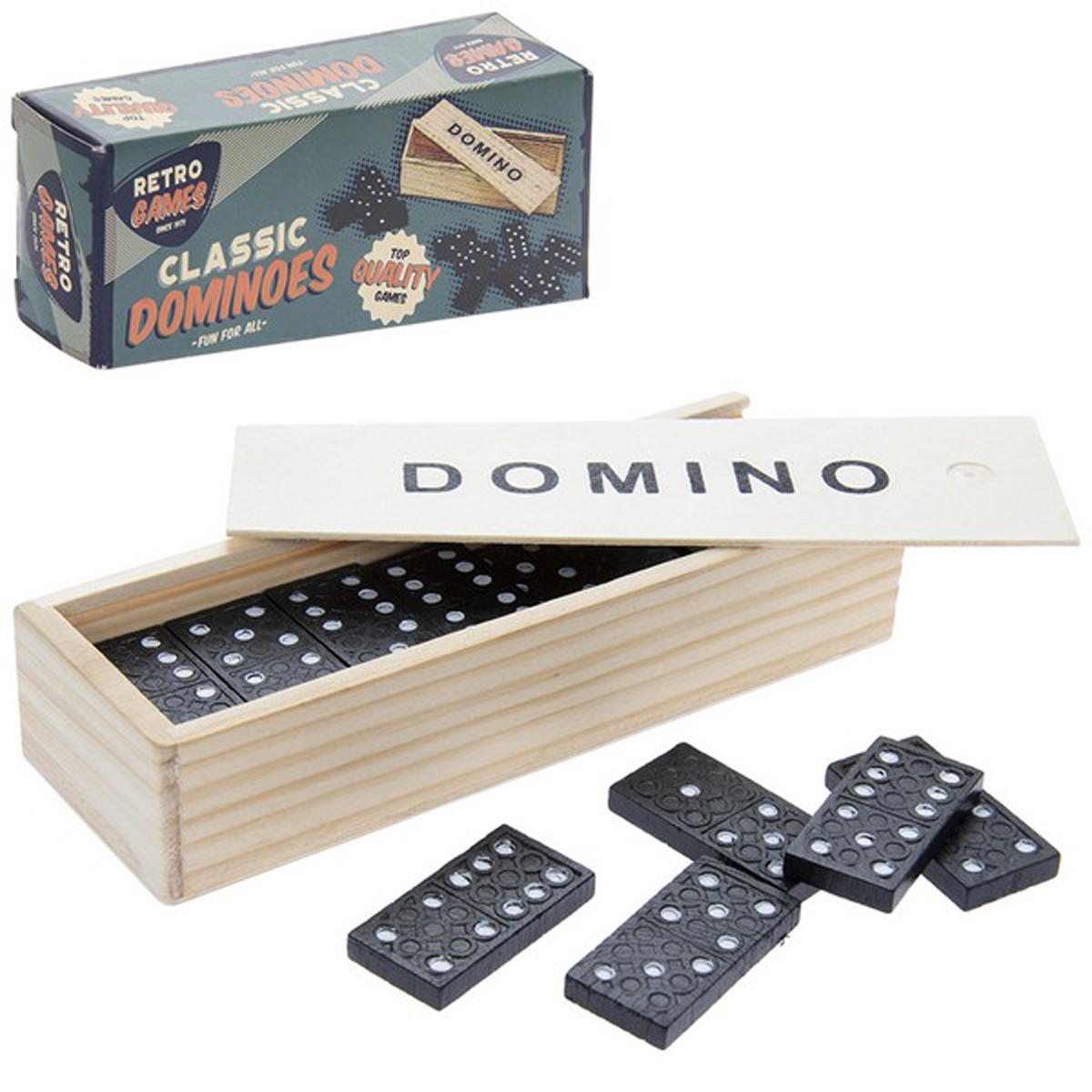 Jeux bois rétro \'Domino\' noir beige - 16x55x36 cm - [R1790]