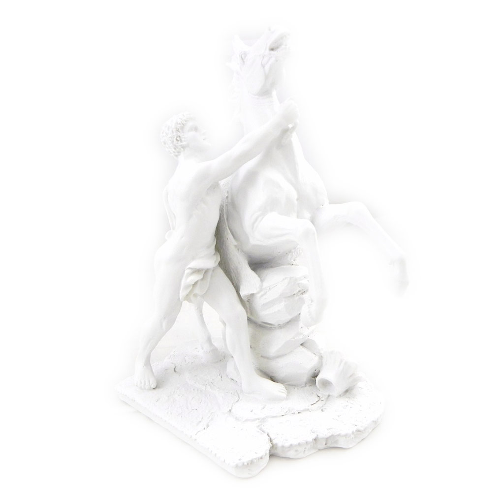 Figurine \'Chevaux de Marly\' blanc marbre - [I6599]