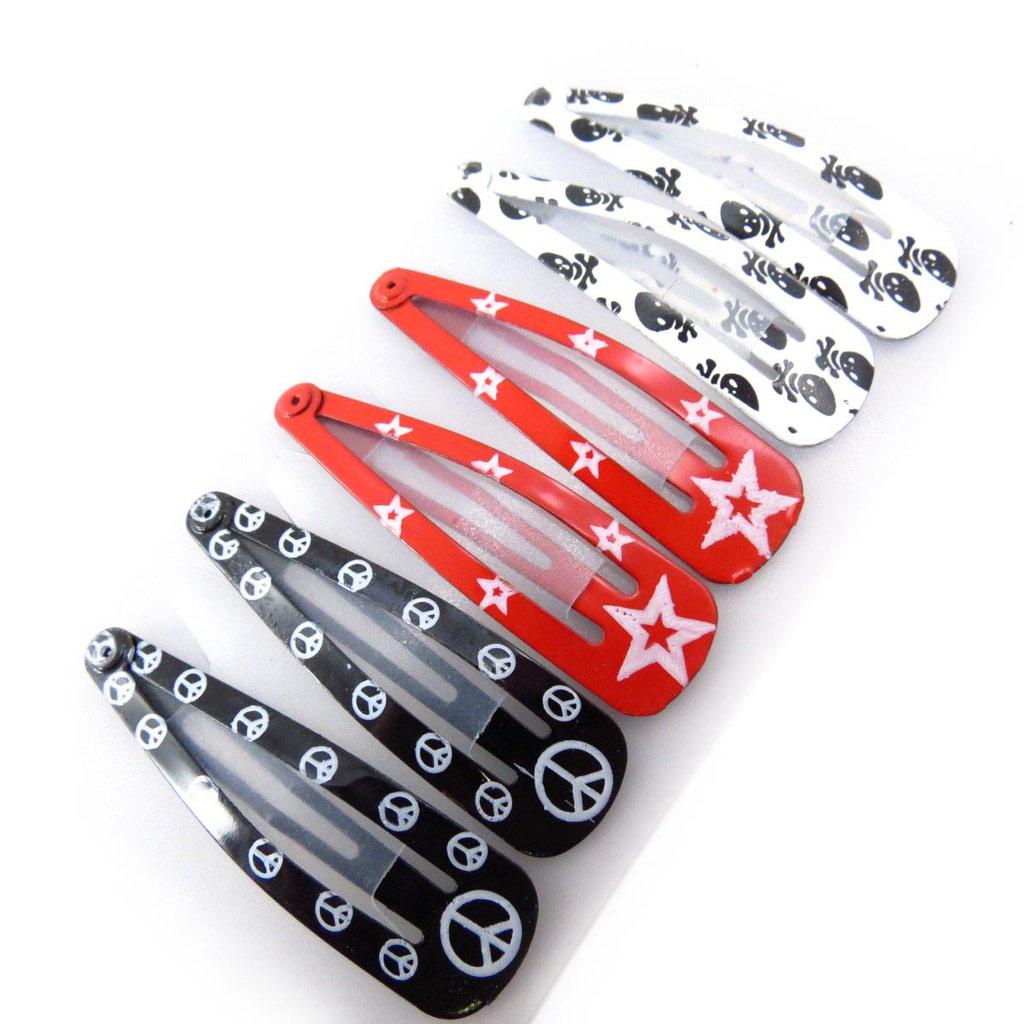Set 6 barrettes \'Coloriage\' noir rouge blanc (47 cm) - [J5833]
