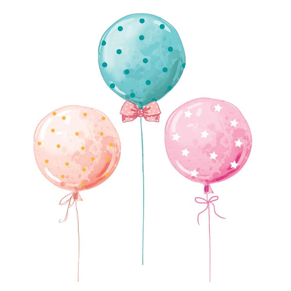 Planche de stickers \'Ballons\' multicolore - 50x70 cm - [R1828]