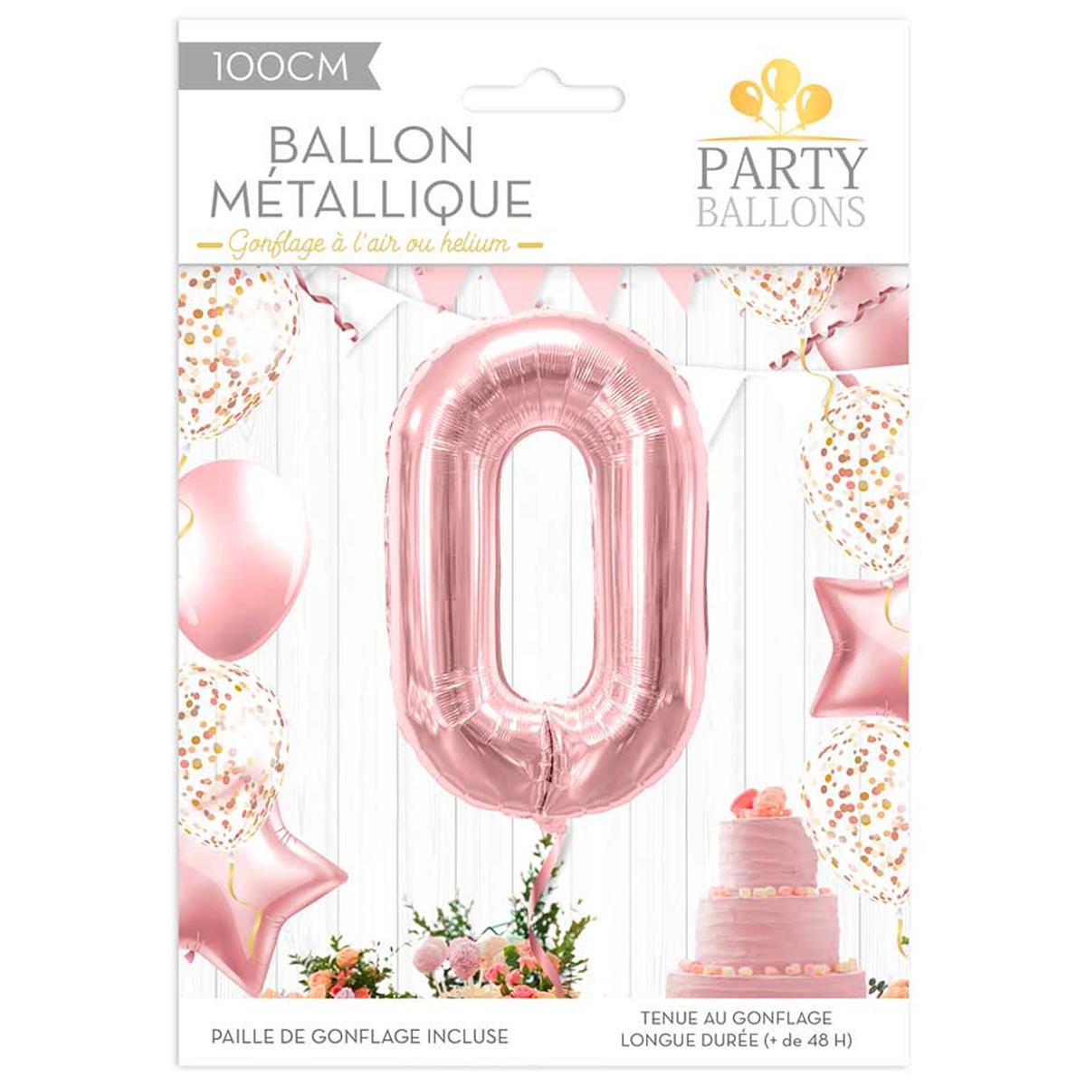 Ballon métallique \'Chiffre 0\' rosé - 1 m - [R1831]