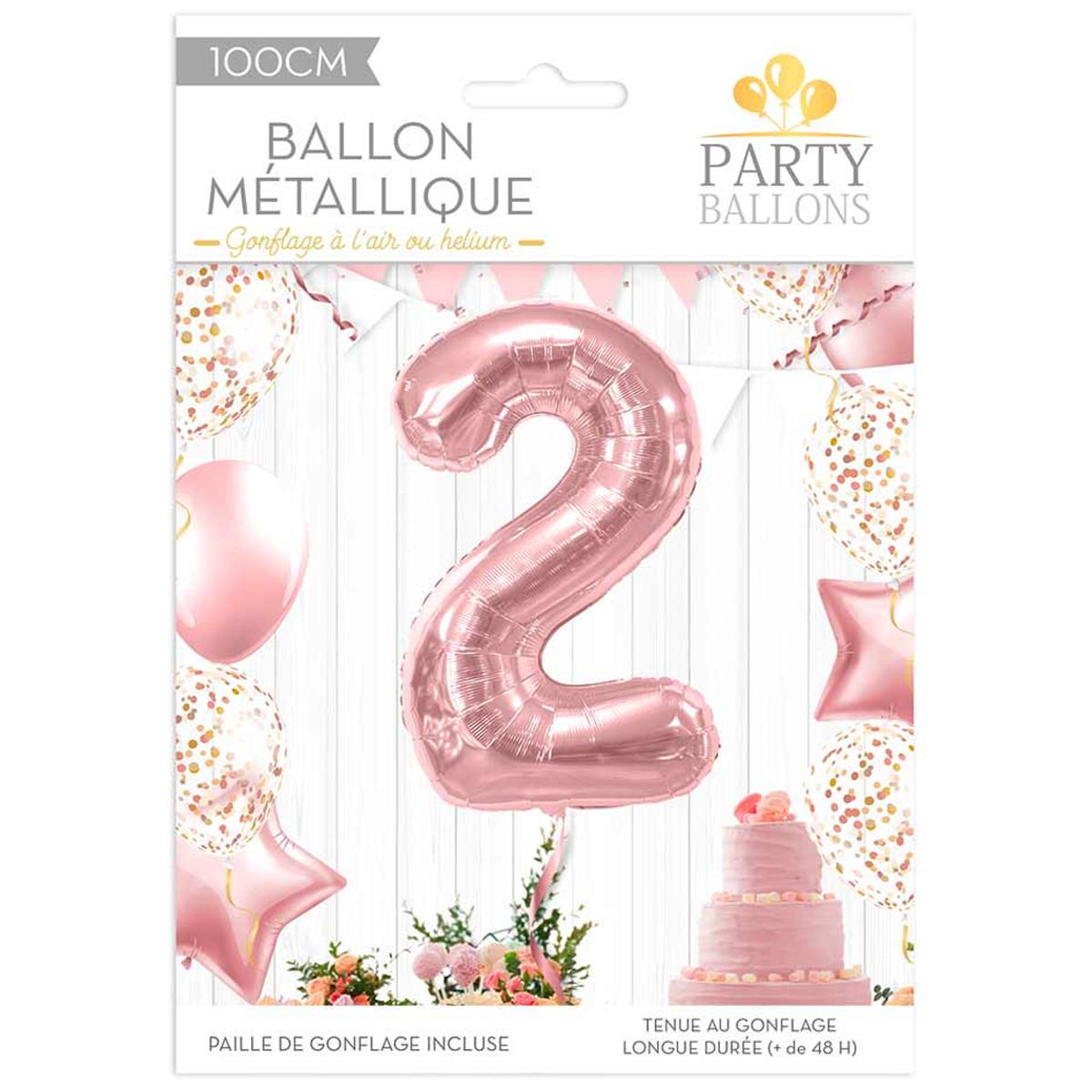 Ballon métallique \'Chiffre 2\' rosé - 1 m - [R1833]