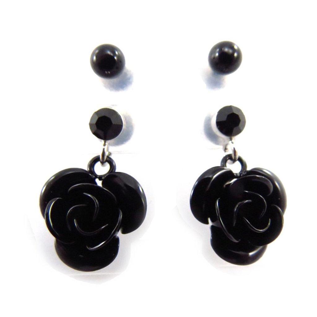 2 paires de boucles \'Rosa Romantica\' noir  - [J5964]