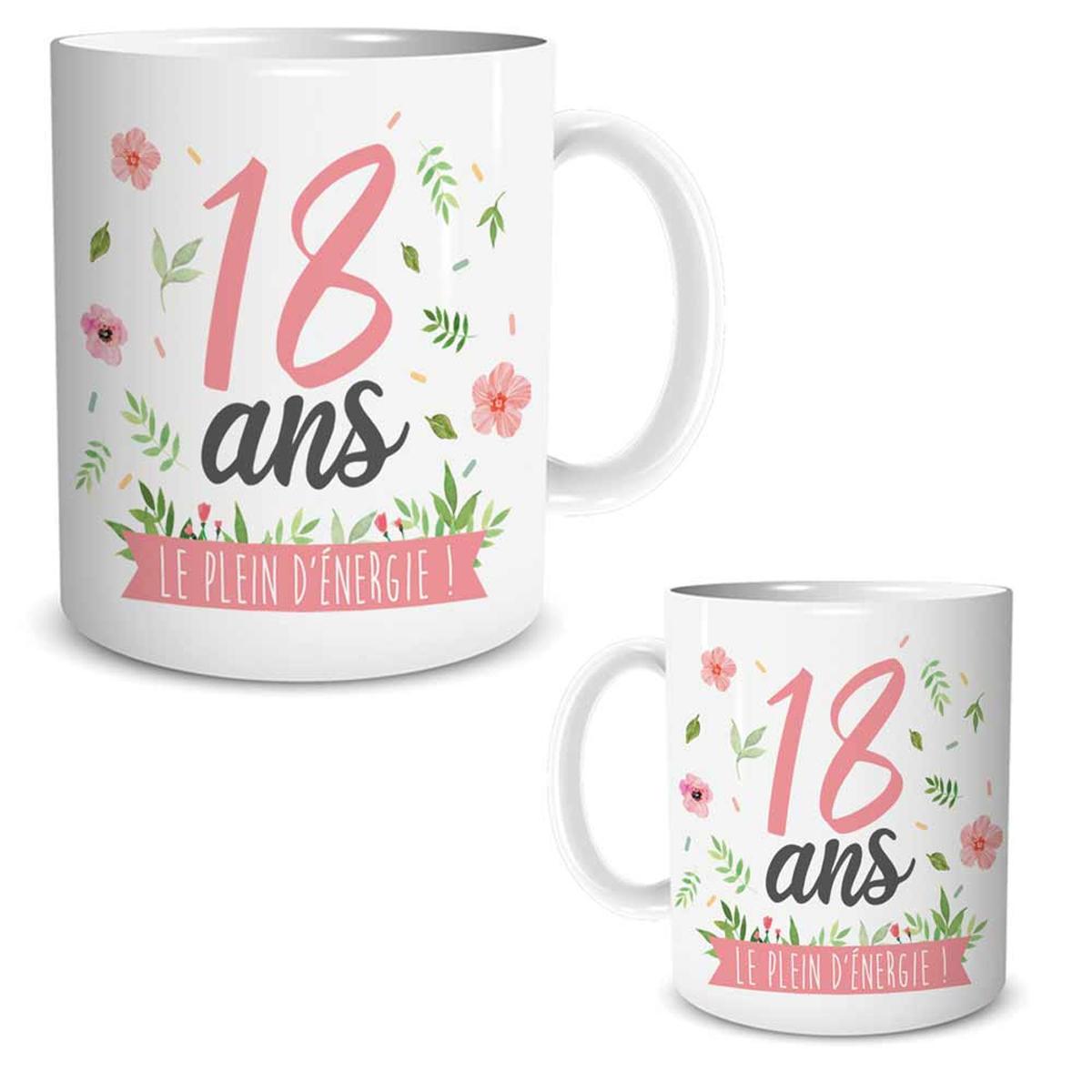 Mug céramique \'18 ans\' blanc rose (le plein d\'énergie !) - 95x80 mm - [R1875]