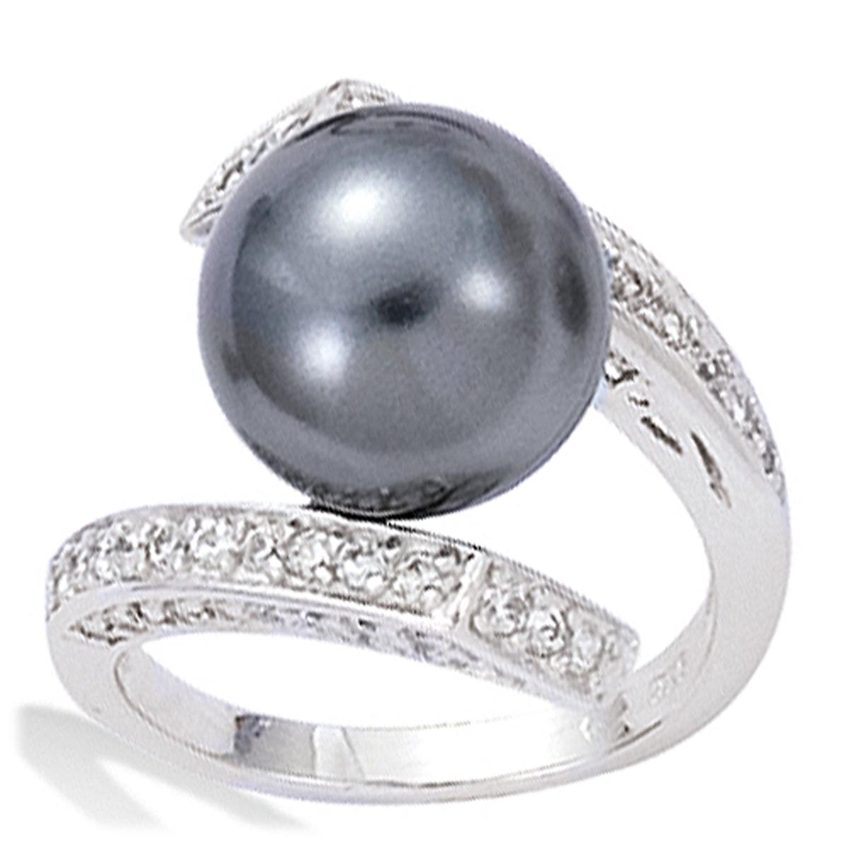 Bague Argent \'Pearl Beauty\' - gris argenté (rhodié) - perle 12 mm - [G8786]