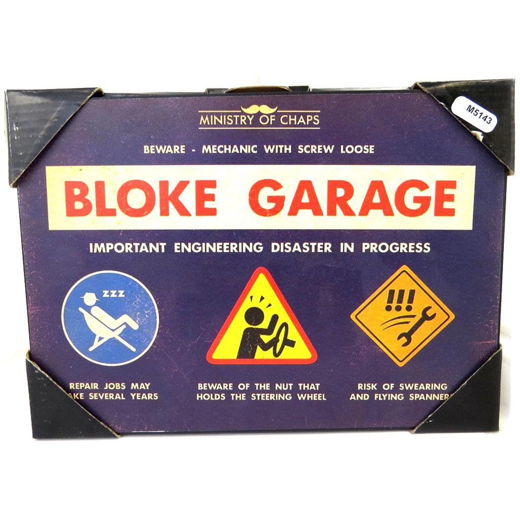 Plaque métal vintage \'Bloke Garage\' bleu (21x15 cm) - [M5143]