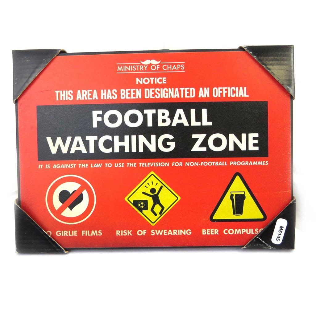 Plaque métal vintage \'Football Watching Zone\' noir rouge (21x15 cm) - [M5145]