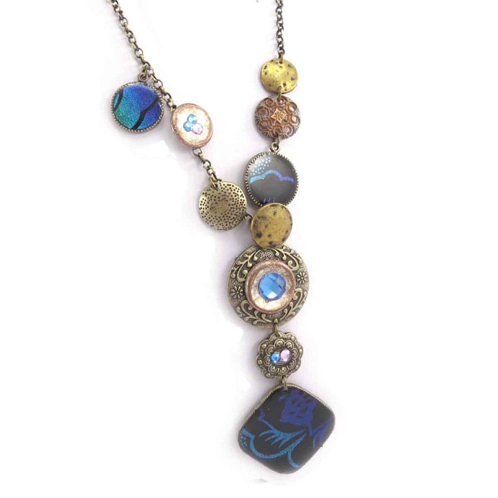 Collier Créateur \'Altai\' bleu doré - [J6099]