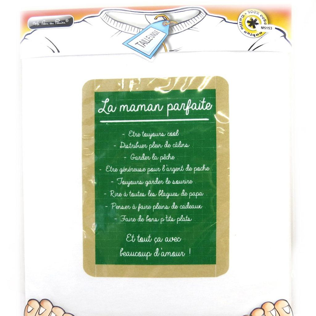 T-shirt \'La Maman Parfaite\' blanc vert - [M5153]